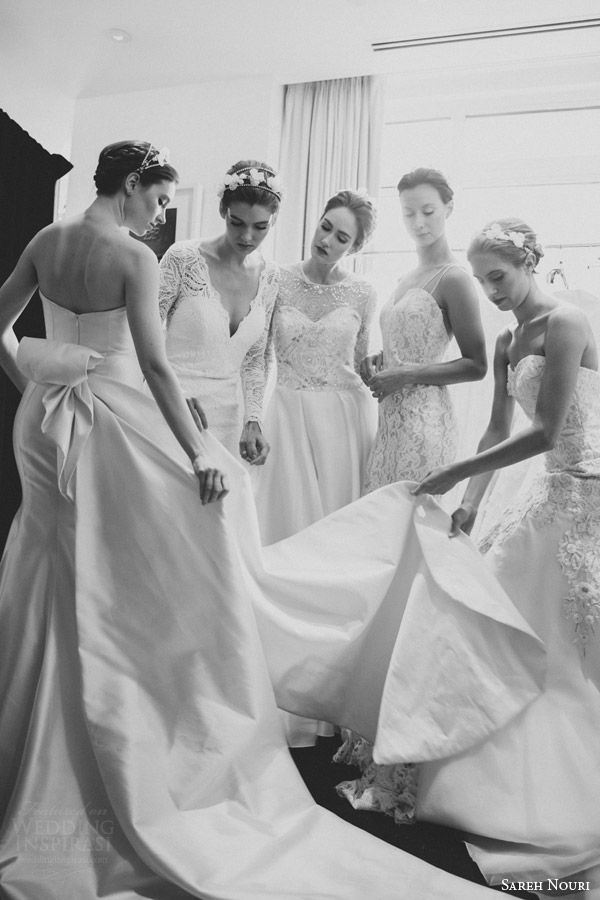 sareh nouri bridal spring 2016 wedding dresses back stage black white gowns sy photography
