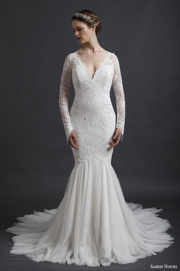 Long Sleeve Mermaid Wedding Dresses 59 Elegant sareh nouri spring bridal
