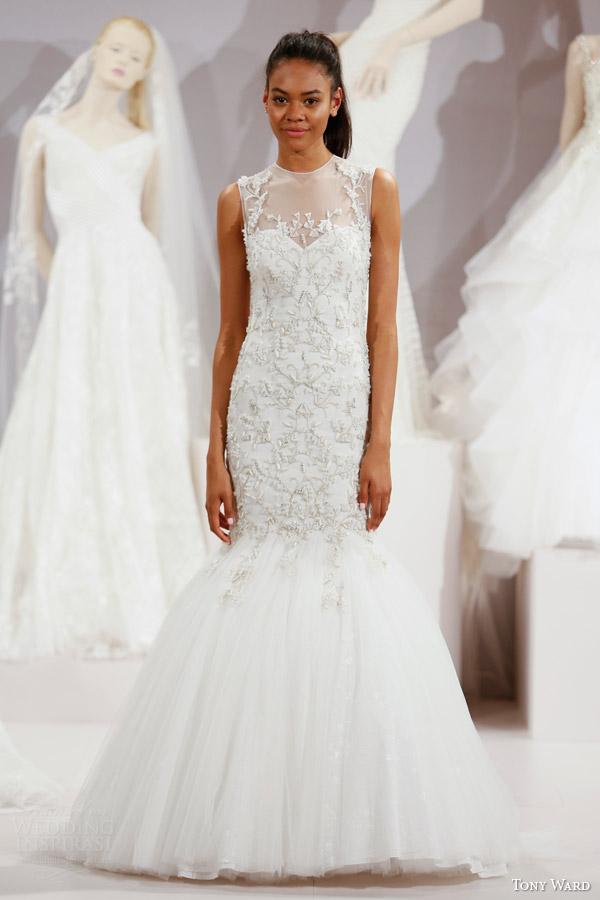 tony ward spring 2016 new york bridal market runway angelica sleeveless wedding dress illusion neckline embellished bodice fit flare mermaid