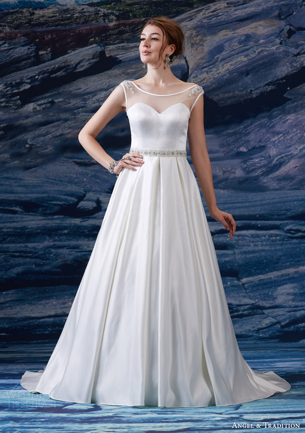 6980e0a94c venus bridal fall 2015 angel tradition at4616 illusion bateau neckline cap  sleeve satin sweetheart bodice beaded