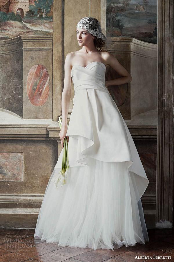 alberta ferretti bridal spring 2016 diana strapless sweetheart surplice bodice peplum overskirt a line wedding dress