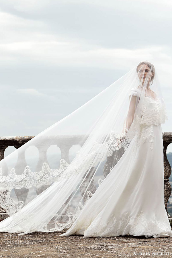alberta ferretti bridal spring 2016 lucina wedding dress crop top straps overlay