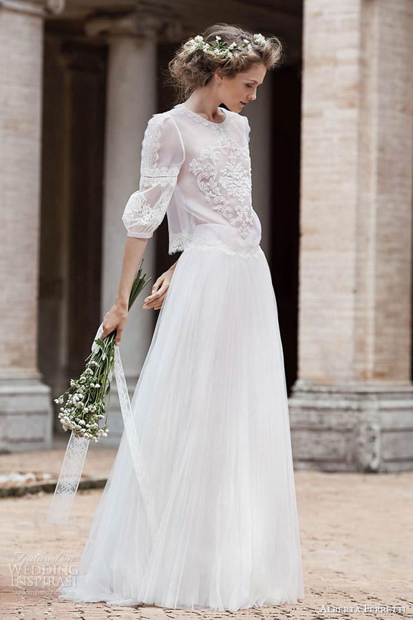 Alberta Ferretti Bridal Spring 2016 Nemesi Bohemian Two Piece Wedding Dress Three Quarter Sheer Top Bouse