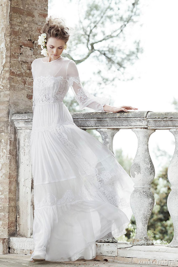 alberta ferretti bridal spring 2016 persefone illusion neckline long sleeve boehemian lace wedding dress