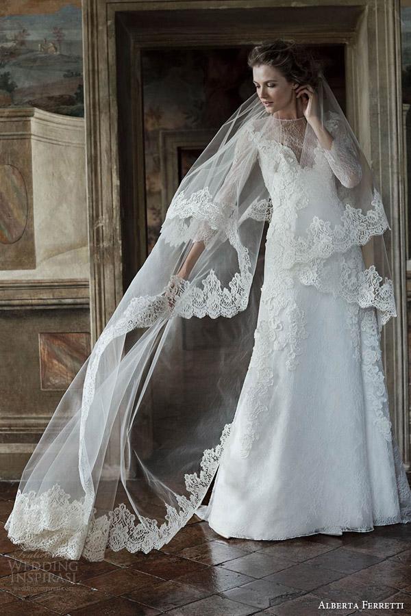alberta ferretti forever bridal spring 2016 demetra illusion long sleeve a line wedding dress