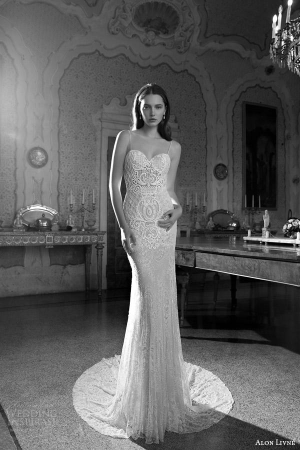 alon livne white 2015 bridal daria sheath lace wedding dress sleeveless thin straps sweetheart neckline