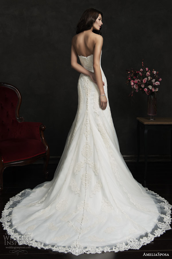 amelia sposa 2015 bridal amilina strapless lace wedding dress back view train