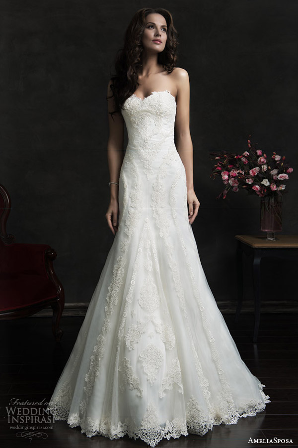 amelia sposa 2015 bridal amilina strapless lace wedding dress sweetheart neckline