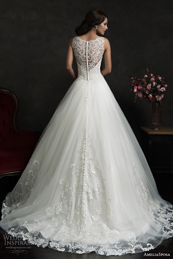 amelia sposa 2015 bridal elza sleeveless ball gown wedding dress illusion neckline back view train