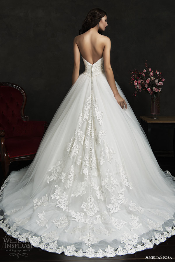 amelia sposa 2015 bridal filipina strapless ball gown wedding dress lace bodice hem skirt back view train