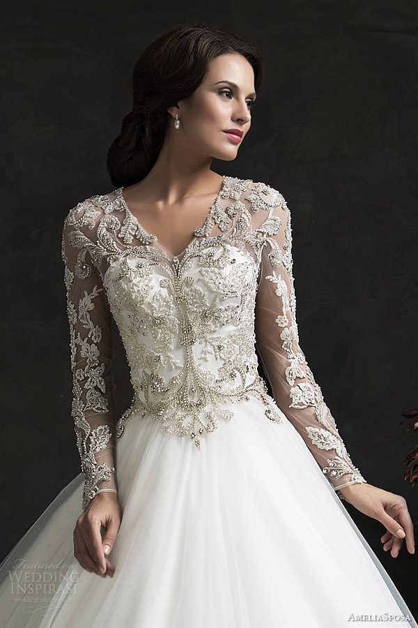 Ball Gown Wedding Dresses With Long Sleeves : Amelia sposa bridal leonor ball gown weddding dress long sleeve