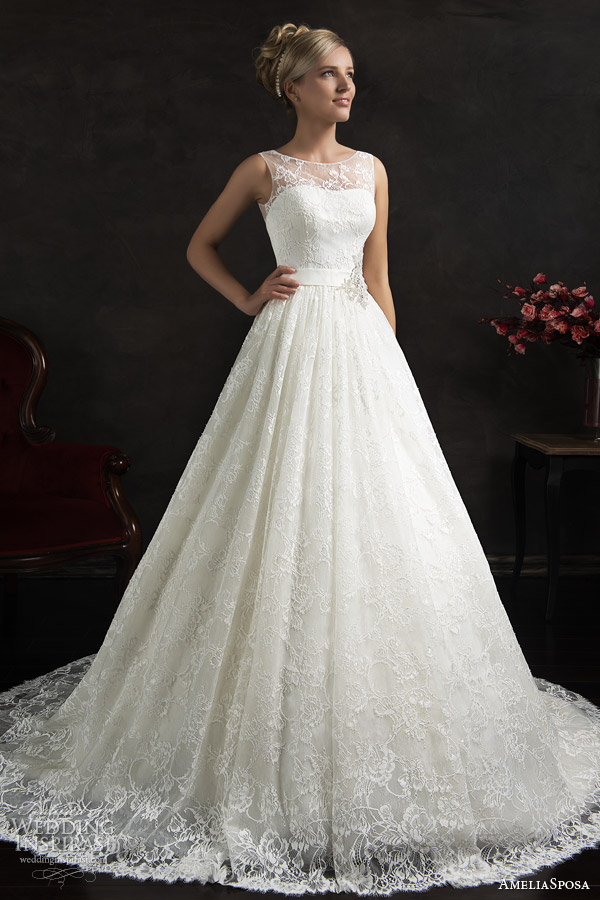 amelia sposa 2015 bridal maritza sleeveless a line lace wedding dress illusion neckline straps