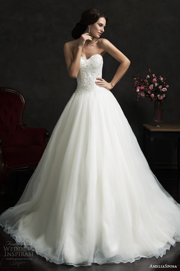 amelia sposa 2015 bridal monica strapless ball gown wedding dress