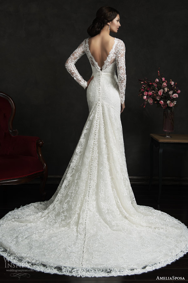 amelia sposa 2015 bridal novia long sleeve lace weddig dress illusion neckline v back view train
