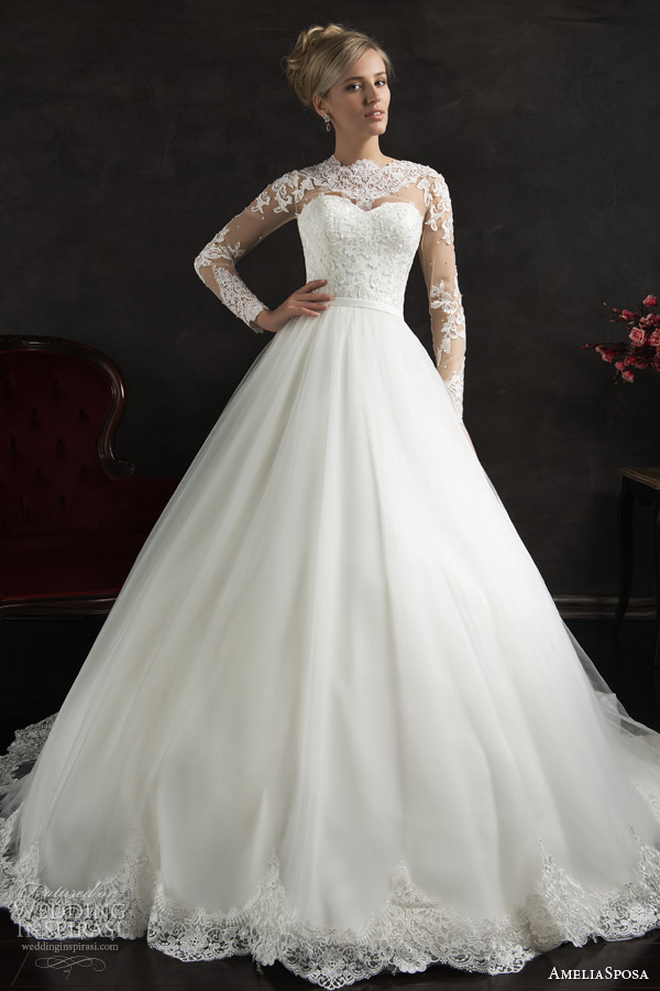 amelia sposa 2015 bridal nubia long sleeve ball gown wedding dress