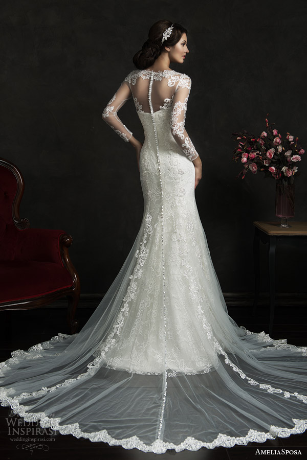 amelia sposa 2015 bridal teofila strapless wedding dress illusion long sleeve lace overlay back view train