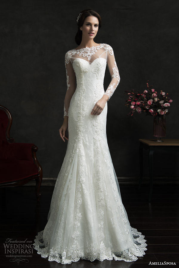 amelia sposa 2015 bridal teofila strapless wedding dress illusion long sleeve lace overlay