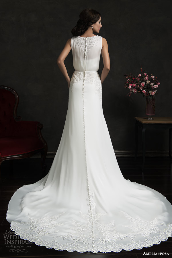 amelia sposa 2015 bridal tereza strapless sweetheart wedding dress sleeveless gown overlay back view