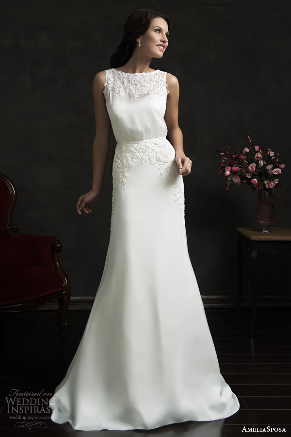 amelia sposa 2015 bridal tereza strapless sweetheart wedding dress sleeveless gown overlay