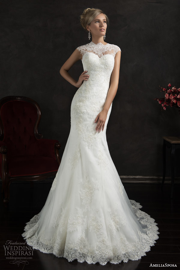 amelia sposa 2015 bridal valensia cap sleeve lace trumpet wedding dress