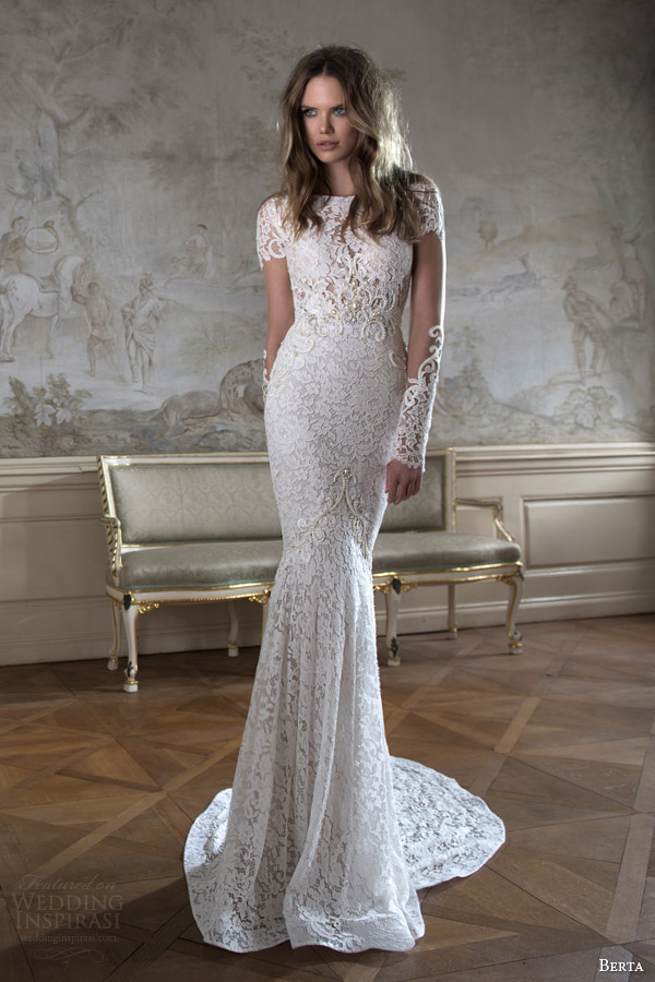 214278c312a28 ... mermaid wedding dress beaded accent. berta bridal fall 2015 illusion  long sleeve high neck lace wedding dress