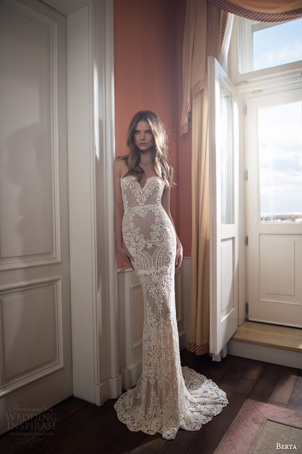 berta bridal fall 2015 illusion neckline lace sweetheart wedding dress