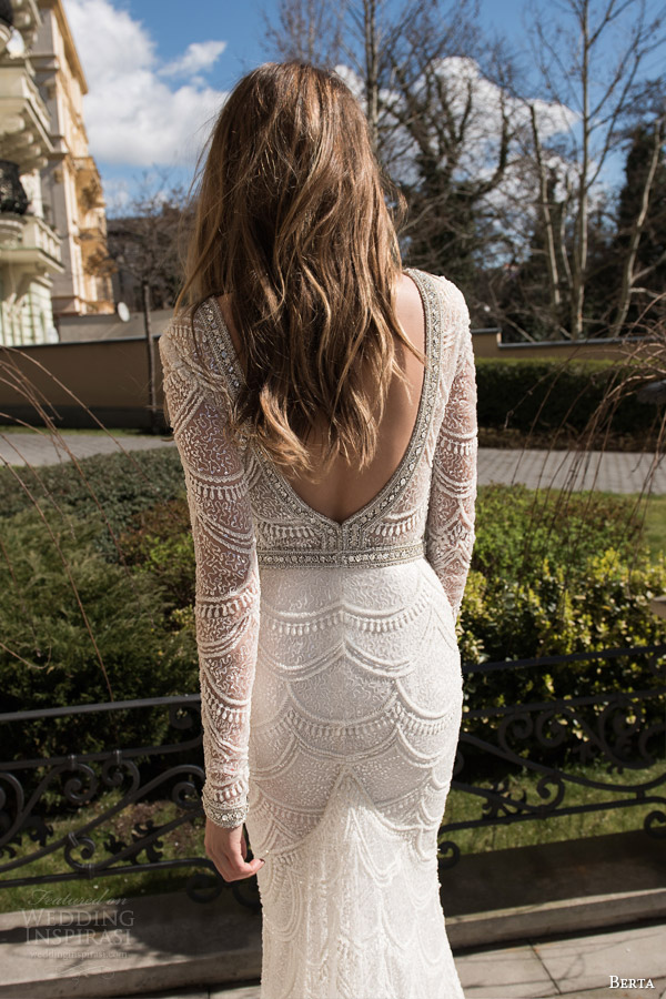 berta bridal fall 2015 long sleeve lace sequinned sheath wedding dress deep v neck low open back view