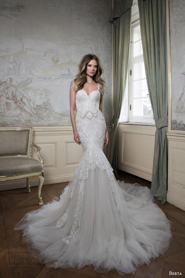 Berta bridal fall 2015 wedding dresses wedding inspirasi for Wedding dress with swag sleeves