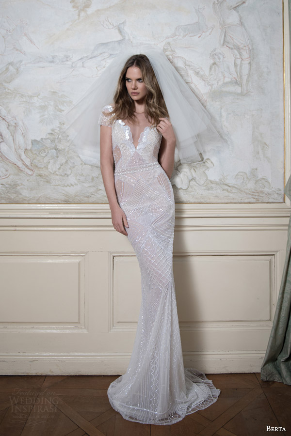 Berta bridal fall 2015 wedding dresses wedding inspirasi for Short sheath wedding dress