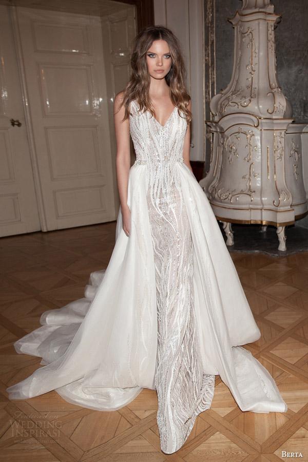 Berta bridal fall 2015 wedding dresses wedding inspirasi for Wedding dress with overskirt