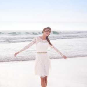 bhldn summer 2015 cynthia long sleeve lace short wedding dress encore watters