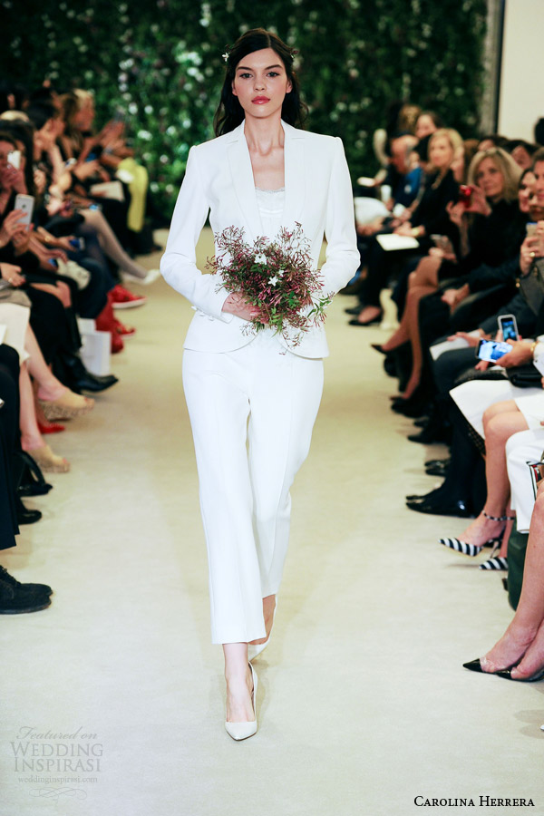 Carolina herrera bridal spring 2016 wedding dresses for Dress pant outfits for wedding