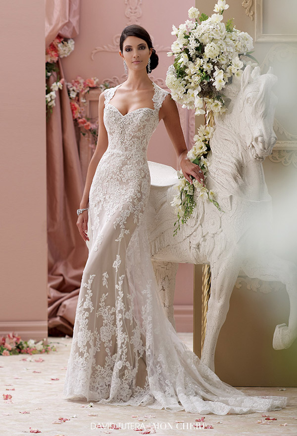 "dfaa6340b david tutera mon cheri spring 2015 style 115229 lourdes corded lace slim a  line cap sleeve. """