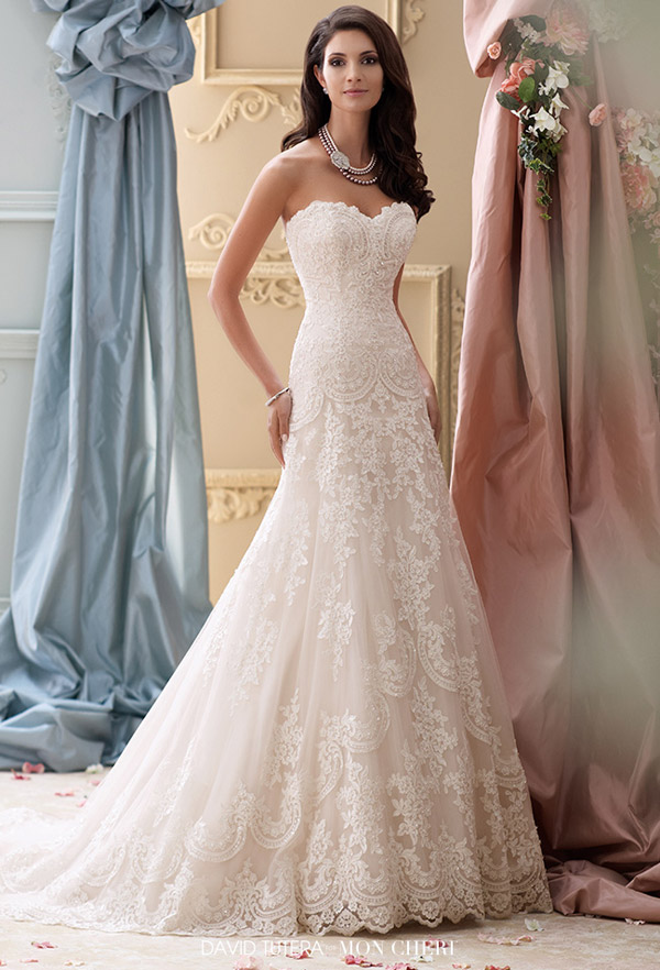 David tutera for mon cheri spring 2015 collection for Lace a line wedding dress with sweetheart neckline