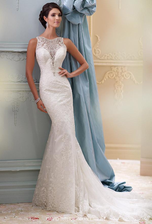 david tutera mon cheri spring 2015 style 115248 athena sleeveless corded lace tulle over satin fit flare wedding dress