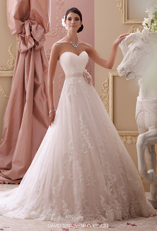 david tutera mon cheri spring 2015 style 115251 blakesley strapless lace hand beaded corded lace applique a line wedding dress sweetheart neckline ivory tea rose