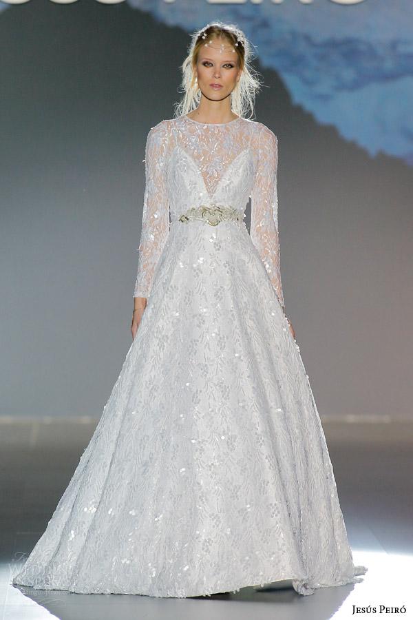 jesus peiro 2016 nanda devi bridal abichandra wedding dress long sleeve a line overlay embroidered netting pearl sequins silk dress deep v neckline