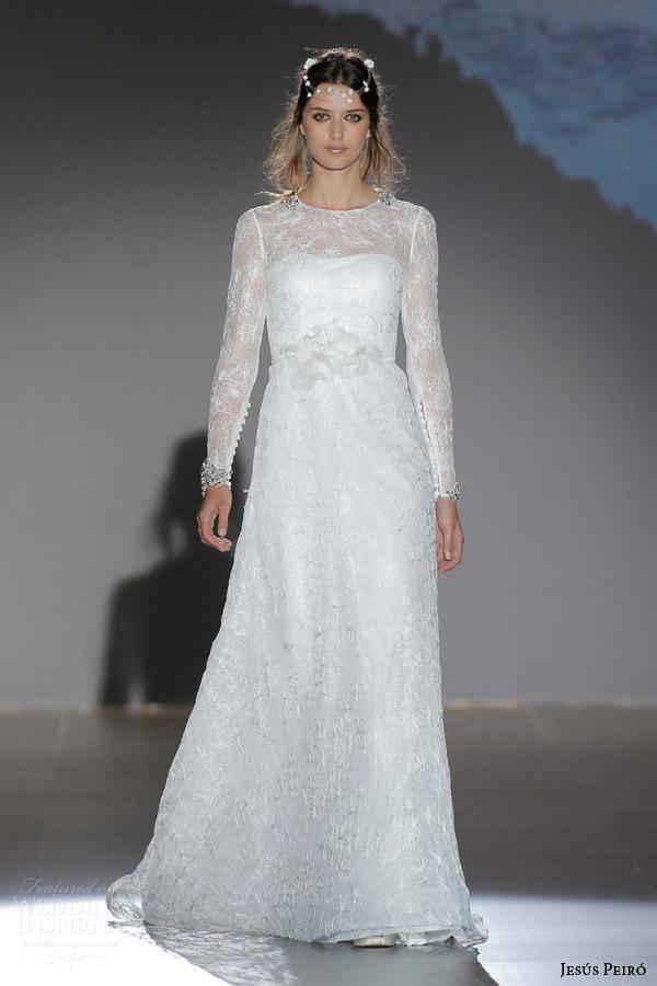 jesus peiro 2016 nanda devi bridal chameli flower illusion long sleeve wedding dress plumeti tulle flower waist