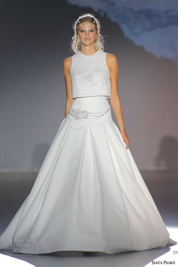 jesus peiro 2016 nanda devi bridal jamini night two piece wedding dress guipure crop top drop waist pique skirt