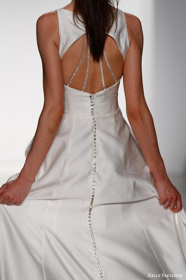 kelly faetanini bridal spring 2016 alessia sleeveless a line duotone wedding dress pockets keyhole back crystal detail close up