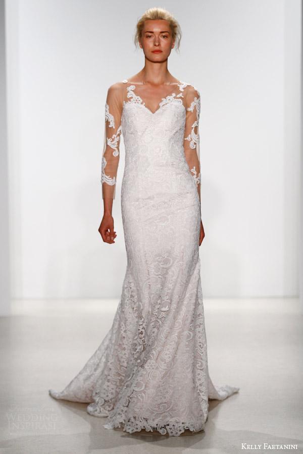 kelly faetanini bridal spring 2016 sena sheath wedding dress illusion neckline long sleeves