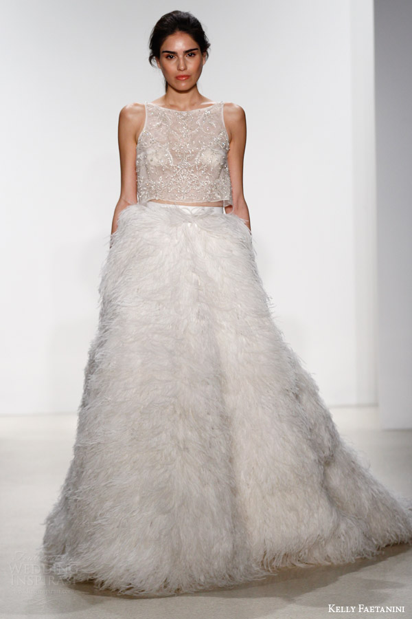 kelly faetanini bridal spring 2016 sleeveless crop top 102 feather skirt 105