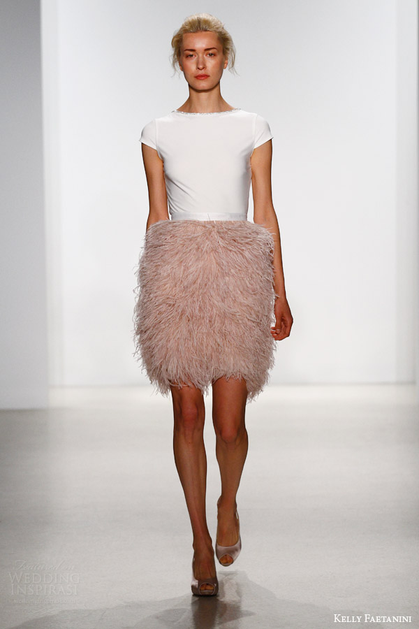 kelly faetanini bridal spring 2016 top 101 short feather skirt 104