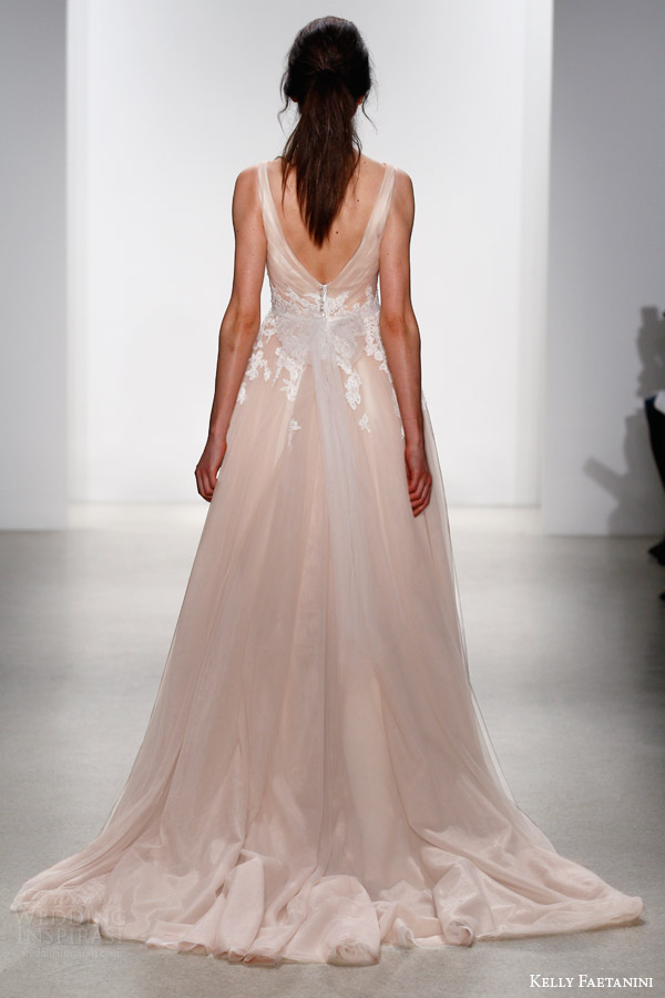 kelly faetanini bridal spring 2016 yona sleeveless blush wedding dress surplice criss cross bodice straps white lace back view