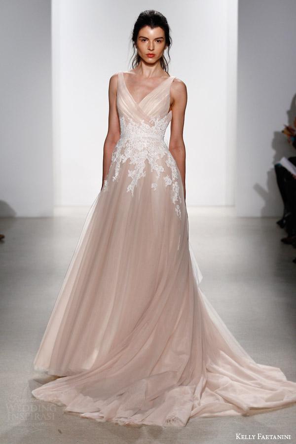 kelly faetanini bridal spring 2016 yona sleeveless blush wedding dress surplice criss cross bodice straps white lace