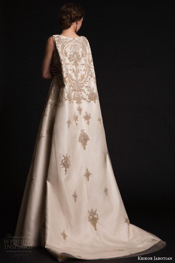 krikor jabotian bridal spring 2015 a line sleeveless wedding dress cape back view train