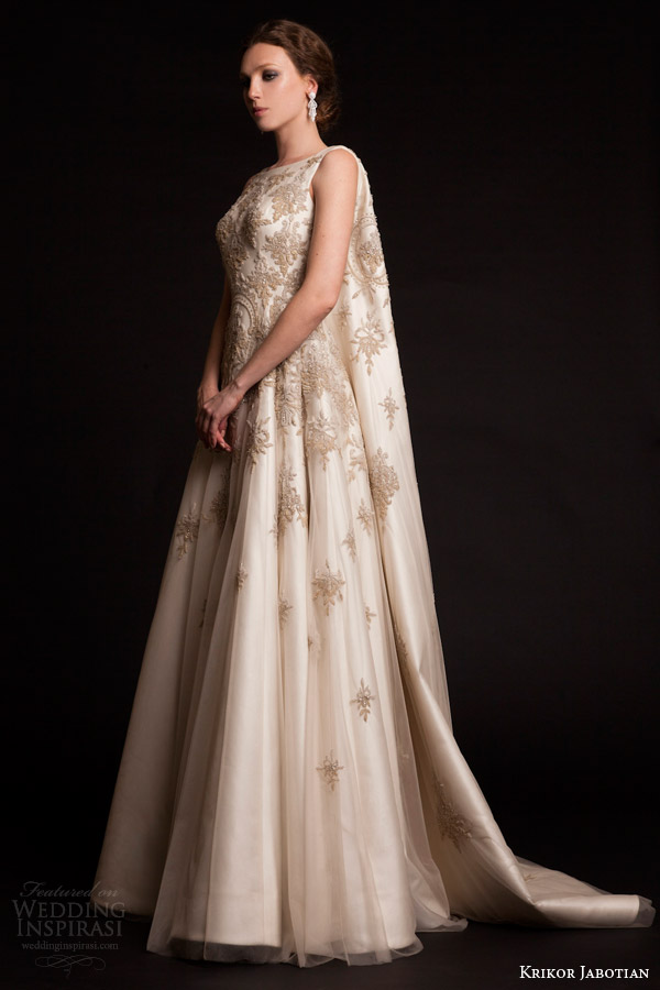 851a8983ccc9 krikor jabotian bridal spring 2015 a line sleeveless wedding dress cape back