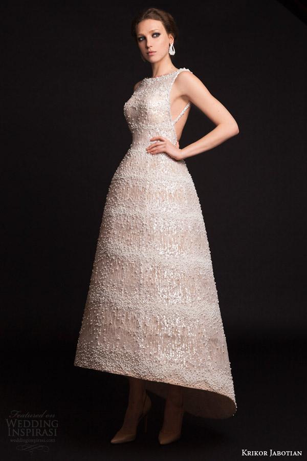 krikor jabotian bridal spring 2015 asymmetric hemline wedding dress beaded gown straps