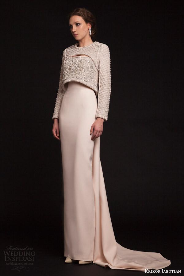krikor jabotian bridal spring 2015 column gown long sleeve topper
