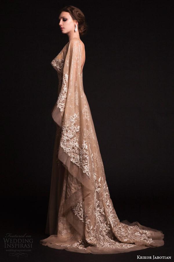 krikor jabotian bridal spring 2015 sheer nude tulle wedding dress cape sleeves train side view